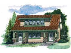 Eplans Garage Plan - Craftsman Carriage House - 1469 Square Feet and 1 Bedroom from Eplans - House Plan Code HWEPL10504
