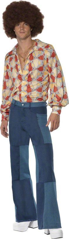 Da Uomo 60s 70s Groovy Hippie Hippy Multi Colore Camicia Retrò Costume Disco