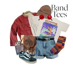 """""""band tees"""" by sunshineilenia ❤ liked on Polyvore featuring Typhoon, malo, Retrò, Solmate Socks and Vans"""