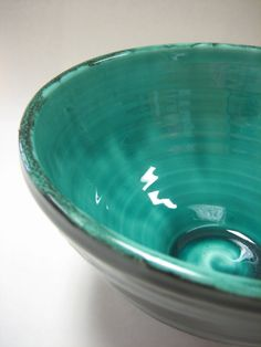teal pottery bowl. sotohouseofclay on etsy.