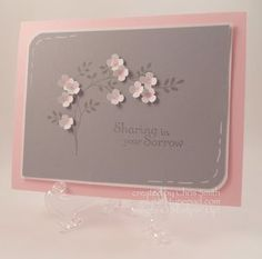 "August 05, 2013 Itty Bitty Flowers Sparkle & adorn this soft & gentle sympathy card | Card base & centers of the flowers are Pink Pirouette. Gray layer & ink is Smoky Slate.  Start the flowers by making little Pink Pirouette dots on Whisper White CS. Then punch out with one of the Itty Bitty Shapes punches. Lay them on a mat & press a stylus to ""draw"" tiny circles into the center of the flower so the petals turn up. Adhere the flowers with Crystal Effects, add some sparkle with Dazzling…"