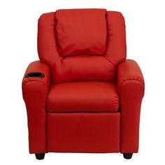 Flash DG-ULT-KID-RED-GG - Contemporary Red Vinyl Kids Recliner with Cup Holder & Headrest | Sale Price: $109.90