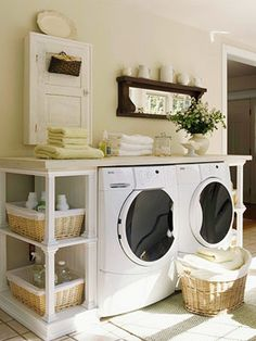 Love the idea of a counter over the washer/dryer.