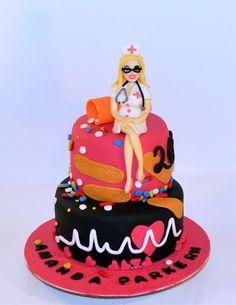 Fondant decorated RN Nurse graduation cake.  Fondant woman nurse on top. Fondant person, fondant people. Jacksonville FL cake decorator Cakebroker – Get original custom cake designs & prices.   Your Profile