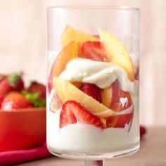 Nectarine  Strawberry #Parfait from eatingwell.com laced with a sweet wine syrup #recipe #cream #yogurt #CADairy