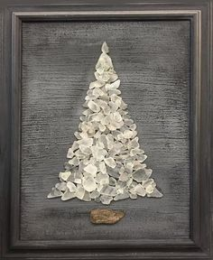 Inspiration: White Beach Sea Glass Tree 18 x 22 Framed Sea Glass Beach, Sea Glass Art, Sea Glass Jewelry, Clear Glass, Frosted Glass, Stained Glass, Broken Glass Art, Shattered Glass, Glass Earrings