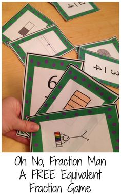 Work on equivalent fractions with this FREE game based on Old Maid. Find all the equivalent fractions by matching two fractions, two models, or a fraction and a model. Don't be left with the Fraction man!!!