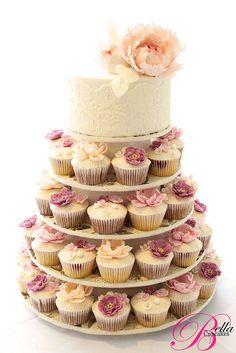 Vintage lace cupcake tower ...Now go forth and share the Bow & Diamond style, lol xx