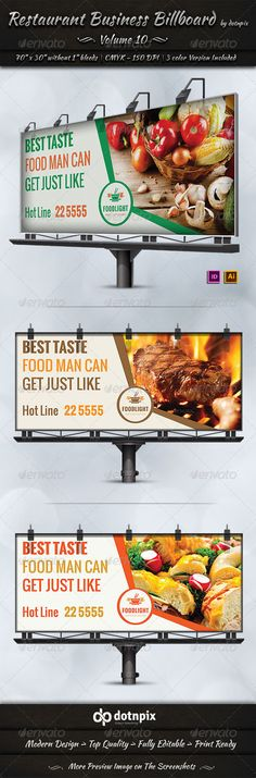 Restaurant Business Billboard Volume 9 by dotnpix Restaurant Business Billboard is a designed for Any types of companies. It is made by simple shapes Although looks very professio Store Signage, Retail Signage, Event Signage, Signage Design, Ad Design, Graphic Design, Flyer Design, Healthy Menu, Healthy Recipes