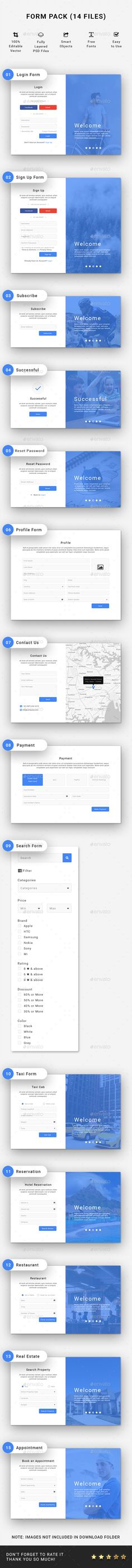 Web Form Design Template PSD. Download Web Design, Form Design, Graphic Design, Web Forms, Vector Shapes, Packing, Ads, Templates, Fonts