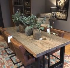 This sturdy sturdy dining table with steel frame. Available in 200 cm and 22 Rustic Table, Mood Board Living Room, Dining Table Design Modern, Dining Table, Home Decor, Industrial Dining Table, Dining Room Table Centerpieces, Rustic Dining Table, Dining Room Table Decor