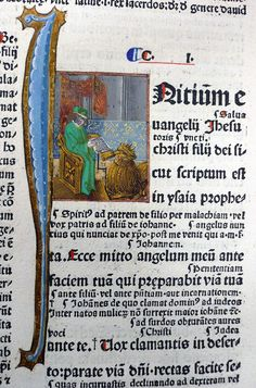 Mark the Evangelist.  Bible (Strasbourg,1480). Sion College Library (ARC A12.2.1480)