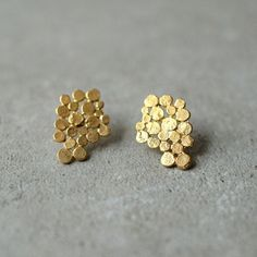 Gold Cluster earrings, Christmas gift, present, bunch earrings,  bridal earrings, bunch posts, Glamorous, designer jewelry, gift for woman