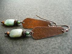 CALM handmade copper and gemstone earrings by livewirejewelrysb, $42.00