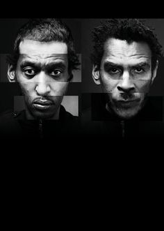"""3D and the Art of Massive Attack – in pictures """"This image was initially created for the Southbank Centre's Meltdown festival, which we curated in 2008. I wanted to do something that represented a literal melting down of things. I created a collage of our two faces. It was a bit of a laugh and a proper face remix."""" Photograph: Mark Simmons/3D"""