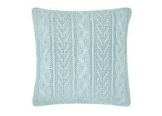 Knitted cushion in duck egg blue from Laura Ashley