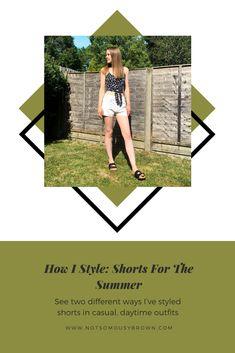 Summer Wardrobe, My Wardrobe, Simple Outfits, Summer Outfits, Daytime Outfit, Front Tie Top, Summer Shorts, Top Pattern, Blue Denim