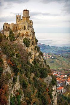 San Marino Castle - Mighty towers on the summit of Mount Titanos, Italy