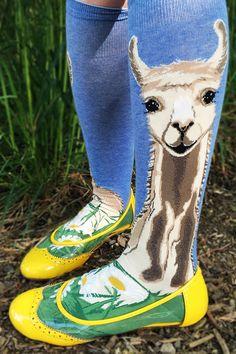 f3d5b4c58be Llovely Llama Roll Top Knee Socks. Llama SocksSock AnimalsHappy ...