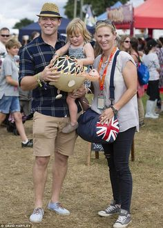 Two-year-old Mia, with her parents Zara Phillips, granddaughter to the Queen and Mike Tindall at the Big Feastival in the Cotswolds
