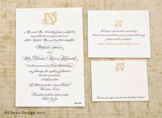 Lindsay Chenault Bolton's wedding invitations on #SavoyPaper