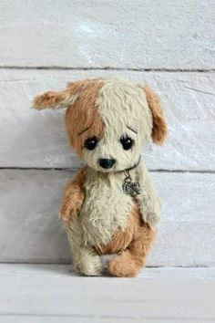 Puppy By Irina Drozdenko4 - The littlepuppy is ready to become your friend! He is very sweet! Hurry get own small pet!The classical Teddy technology has been used to design the puppy.I used viscose for this puppy. The soft toy is stuffed with hollofayber. The belly is filled with granulated metal to add s...