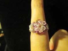 Swarovski Crystal Ring  pink over purple size 995 by jsdd on Etsy, $10.00