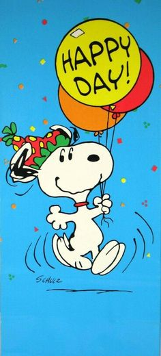 Snoopy's having a 'Happy Day!'.
