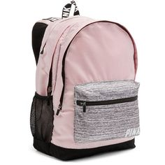 PINK Campus Backpack ($35) found on Polyvore featuring women's fashion, bags, backpacks, red, day pack backpack, water bottle backpack, pink bag, laptop rucksack and padded laptop bag