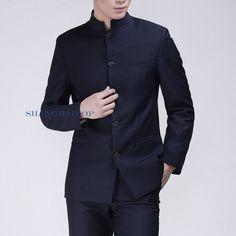 Men Single Breasted Suit Mao Oriental Style Tunic Jacket Blazer Slim Gray White | eBay Oriental Style, Oriental Fashion, Blazer Jacket, Leather Jacket, Single Breasted, Winter Coat, Tunics, Cool Outfits, Shell