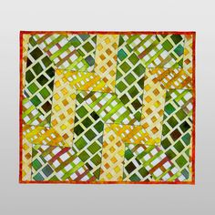 """Yellow Brick Road"" Curved Tubular Strip Piecing. Rita Hutchens."