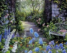 Walkway with flowers Garden Painting, Garden Art, Garden Design, Walkway Garden, Garden Entrance, Colorful Roses, Blue Flowers, Colourful Garden, Spring Flowers