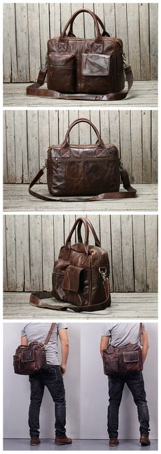 27d696f1425 Handmade Dark Brown Top Grain Leather Briefcase Men s Handbag Messenger Bag  15   Laptop Bag NZ03