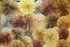 Love the pinwheel idea but in neutrals with pops of color.  handmade pinwheel photobooth backdrop. by contradictionofsorts, via Flickr
