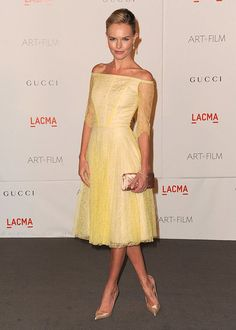 Kate Bosworth in yellow lace dress by Erdem. Oh wow oh wow oh wow.