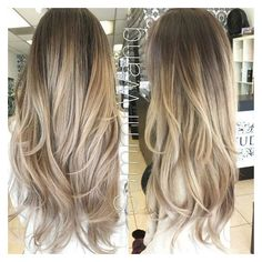 Ash Blonde and Gold Ombre Hair, Balayage Clip In Hair Extensions, Dark ❤ liked on Polyvore featuring beauty products, haircare and hair styling tools
