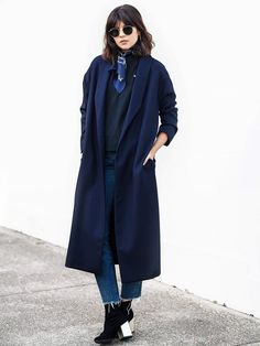 Duster Coat + Bandana + T-Shirt + Cropped Jeans + Ankle Boots
