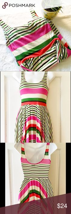 """SPARKLE&FADE Striped Asymmetrical Dress Pink, white and green stripes on this Urban Outfitters Dress.  100% Rayon.  Chest measures 13.5"""" and length at longest point is 36"""". Urban Outfitters Dresses Asymmetrical"""