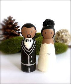 The bride has a puff!! - African American Custom Wedding Cake by CreativeButterflyXOX, $60.00
