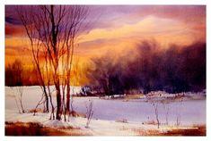 Daysend Painting by Sterling Edwards Art Aquarelle, Watercolor Sunset, Watercolor Landscape Paintings, Watercolor Trees, Watercolor Artists, Abstract Landscape, Winter Painting, Watercolour Tutorials, Winter Landscape