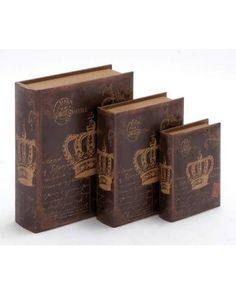 Wooden Book Box Set With Crown Postcard Painting