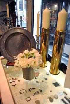 A pair of WW1 shells made into candlesticks from Jane Stewart at Grays.  Jane Stewart's stand in the Mews offers a range of unusual antique artifacts.