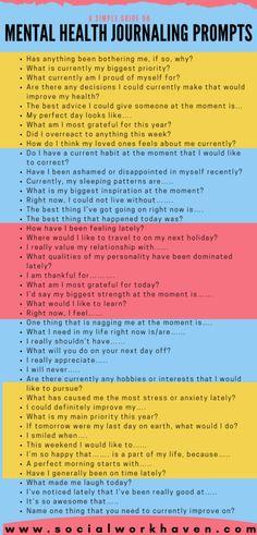 Mental Health Journal, Mental And Emotional Health, Gratitude Journal Prompts, Journal Topics, Writing Therapy, Journal Questions, Therapy Journal, Self Care Bullet Journal, Vie Motivation