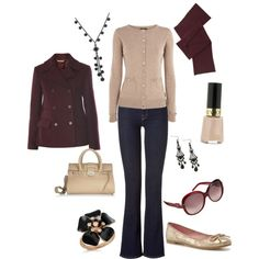 Casual Work Outfit   purple, cream