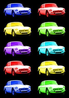MG MGB GT MODERN A1 POP ART CAR POSTER PRINT