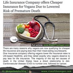 There are many studies showing how a vegan diet cuts the risk of various diseases and now insurance companies are catching on too. Vegan Facts, Vegan Memes, Fitness Nutrition, Health And Nutrition, Insurance Companies, Life Insurance, Reasons To Be Vegan, Why Vegan, Vegan Animals