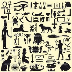 Egyptian Symbols and Signs SET 1 - Stock Illustration