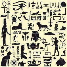 Egyptian Symbols and Signs SET 1 - Stock Illustration