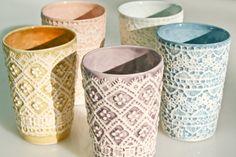 Tea coffee porcelain tumbler in light purple nuance by RAKLATAcom