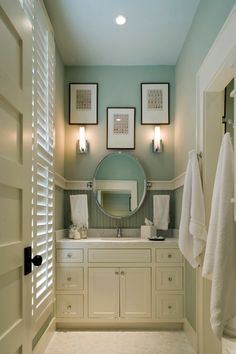 Bathroom love how this corner is so tall, 9' ceilings help... color of the wall with white is my favorite